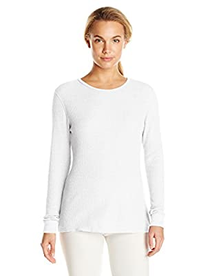 Fruit of the Loom Women's Waffle Thermal Underwear Top, Arctic White, X-Small
