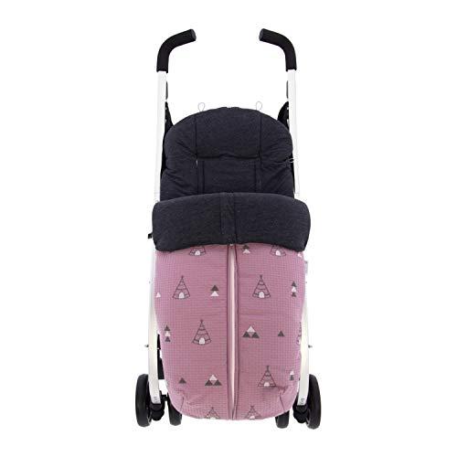 Saco Silla de Paseo Universal Rosy Fuentes- Saco Carrito Bebé - Funda de silla de paseo - Equipado para ser Ajustado perfectamente - Elaborado en Piqué bordado - Color rosa empolvado