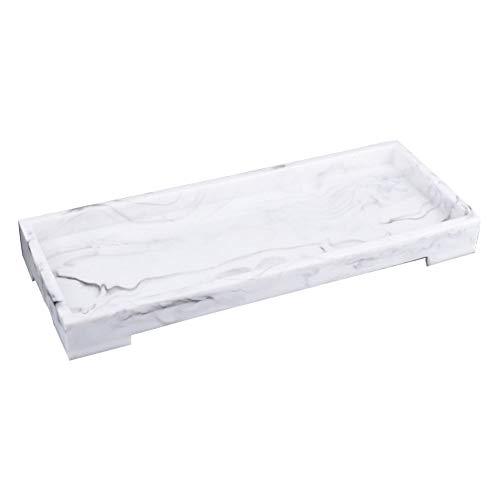 Bandeja de baño, lavabo, bandeja decorativa de resina para servir, superficie de trabajo de estilo nórdico bandeja para baño de mármol, bandeja para guardar toallitas de jabón