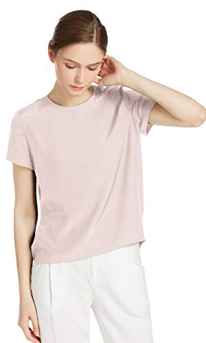 LilySilk Seide Damen Hemdbluse Kurzarm Bluse Hemd Tunika 22 Momme Verpackung MEHRWEG (S, Hell Beige)