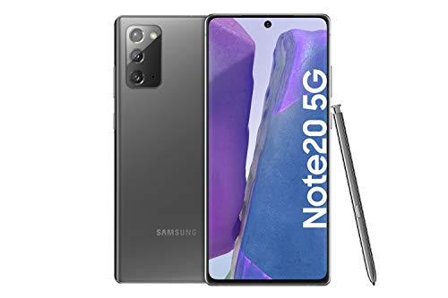 Samsung Galaxy Note 20 5G Android Smartphone ohne Vertrag Triple Kamera Infinity-O Bildschirm256 GB Speicher starker Akku Handy in grau inkl. 36 Monate Herstellergarantie [Exklusiv bei Amazon]