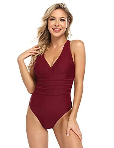 Damen Retro One Piece Badeanzug V Ausschnitt Geraffte Monokini Bauchweg Gepolsterte Badebekleidung Plus Size Einteiliger Bikini,Weinrot L
