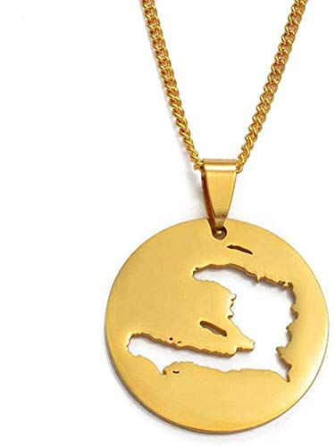 BACKZY MXJP Necklace Haiti Map Pendant Necklaces for Women/Girls Gold Color Jewelry Gifts Map of Haiti Ornament Items