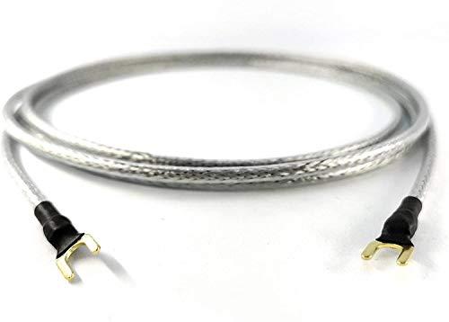 1,25m Erdungsleitung 1 x 0,50mm² für Plattenspieler Phonogeräte mit Masseanschluß inkl. vergoldeter Gabelschuh Masseleitung transparent Silber Geflechtschirm