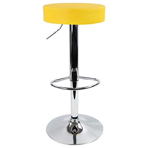 KKTONER Round Bar Stool PU Leather with Footrest Height Adjustable Swivel Pub Chair Home Kitchen Bar stools Backless Stool (Yellow)