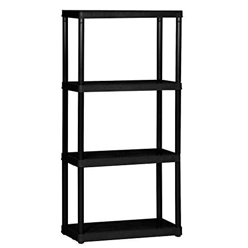 4 Shelf Bookcase, 4 Tier S-Shaped Wood Storage Shelves, Vintage Geometric Bookshelf Rack, Free Standing Display Storage Shelves for Living Room Home Office 31.5