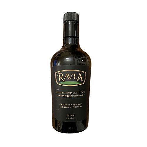 RAVLA Extra Virgin Olive Oil 349 Mg/Kg Total Phenolic Compound Cold Pressed Mild and Delicate Flavor First Cold Pressed Single Bottle (16.9 Fl Oz/500 ml)