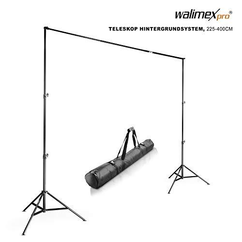 Walimex Pro Teleskop - Soporte telescópico para Fondo fotográfico (225-400 cm), Color Negro
