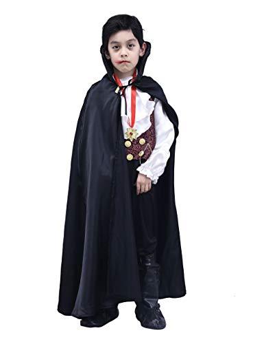 IKALI Jungen Vampir Kostüm, Kinder Halloween Dracula Kap Verkleidung Outfits 4 Stück(3-4 Jahre
