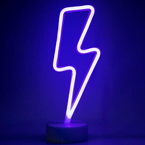 ZWOOS Insegne luminose per camera da letto - Insegna al neon LED alimentata a batteria o USB - Lampe neon per Natale, feste, bar (Fulmini)