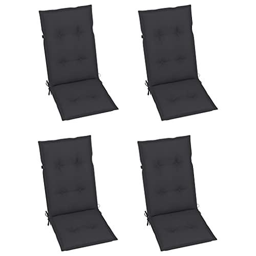 vidaXL 4X Gartenstuhl Auflage für Hochlehner Kissen Sitzkissen Stuhlkissen Polster Stuhlauflage Sitzauflagen Sitzpolster Anthrazit 120x50x7cm