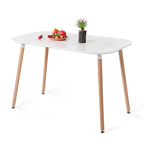 H.J WeDoo Table de Salle à Manger en MDF Moderne Table à Manger Cuisine Ovale Table avec Pieds Bois pour Salon Bureau etc 110 x 70 x 73cm