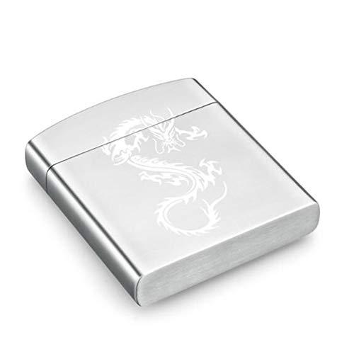 FYHX 20 Sticks tragbare Zigarettenetui Edelstahl Double-Layer-Zigarettenschachtel für Herren Business,C,93X82X17mm