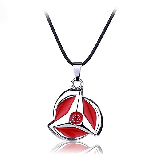 QINGQING Konoha Red Cloud Logo Aleación Joyas,Símbolo Logo Colgante Collar,Dibujos Animados Metal Coleccionable Collar Accesorio Colgante Anime Fans Regalo