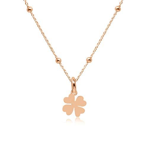 WANDA PLATA Collar con Colgante Trébol de Cuatro Hojas para Mujer en Plata de Ley 925 con Baño de Oro Rosa, Gargantilla, Collar Suerte