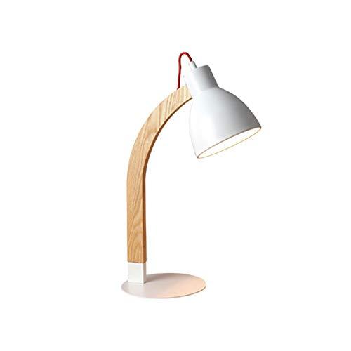 NARUJUBU Lámparas de sobremesa, lámparas de mesa modernas Accesorios Personalidad creativa Lámparas de mesa de madera, pantalla de cristal y base de madera Morden Lámpara de mesa de noche junto a la c