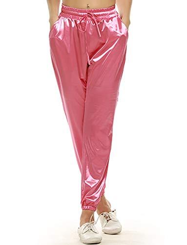 VWIWV Damen Jogginghose mit Kordelzug, Satin, mit Taschen - Pink - Groß