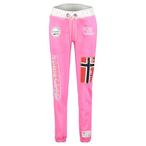 GEO NORWAY Myer Lady - Damen Jogginghose Sporthose Gym - Bequeme Fitness-Trainingshose Elastischer Bund Casual - Damen Yoga-Trainingsanzug Baumwolle Polyester Taschen Flash Pink - S