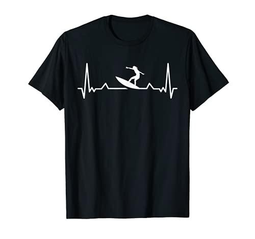Surf Heartbeat Pulse Valve EKG Frecuencia Cardíaca Surfing Camiseta
