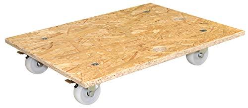 WAGNER Transporthilfe - OSB BIG - OSB Platte/Grobspanplatte 18 mm, 49 x 59 x 11 cm, Ergo-Tragegriff, Lenkrollen 75 mm, 2 Feststeller, Tragkraft 250 kg – 20117201