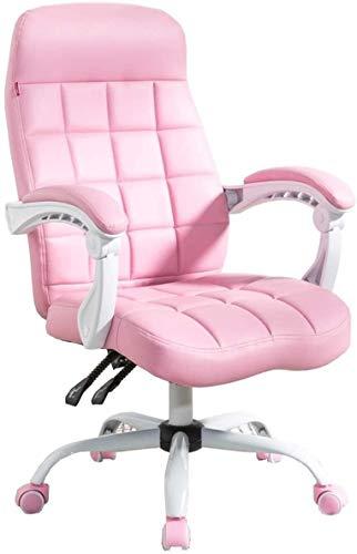 Sillones GSN Inicio Silla Silla de Oficina de Cuero Arco Respaldo reclinable Silla de salón en Movimiento Apoyabrazos Capacidad de Carga 260 Lbs Rosa