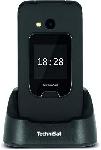 TechniSat TECHNIPHONE ISI 4 - Klappbares Seniorenhandy ohne Vertrag (2.4 Zoll Display, Mini SIM, MicroSD Kartenslot, inklusive Ladestation, 900 mAh Akku) schwarz