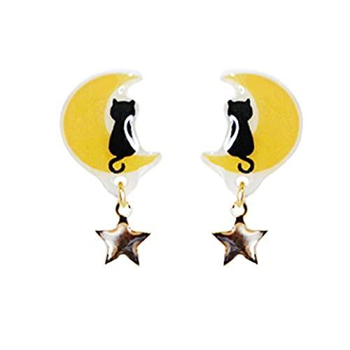 Pendientes Originales de Luna y Gato s925 Clip de Oreja de Plata esterlina sin Pendientes Lindos románticos Perforados-C