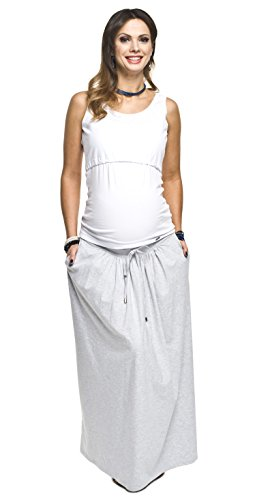 Torelle Umstandsrock, Schwangerschaftsrock Madi, Rock für Schwangere, hochwertige Baumwolle! Hellgrau XL