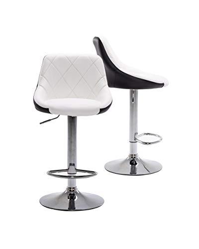 Muebles Home Lot de 2 chaises de bar à hauteur réglable en cuir PU avec repose-pieds pivotant chromé pour cuisine, comptoir et maison Blanc