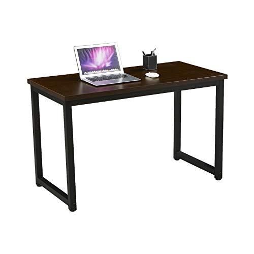 SVITA Uni Bürotisch Nussbaum-Optik Schwarze Metall-Beine Computertisch Schreibtisch Arbeitstisch PC Tisch