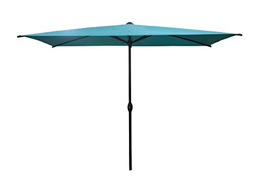 SORARA Parasol Jardin | Turquoise (Vert/Bleu) | 300 x 200 cm (3 x 2 m) | Rectangulaire Porto Deluxe (Mât Bronzé) | Commande à Manivelle | (Excl. Base)