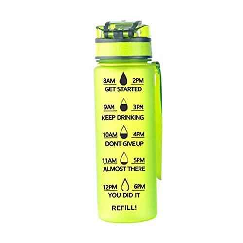 ZZDH Botella de Agua Deportiva Botella de agua deportiva de gran capacidad con marcador de tiempo plástico cubierta de rebote al aire libre reutilizable a prueba de fugas taza Adecuado Para Fitness, D