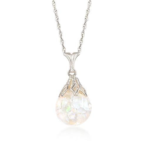 Ross-Simons Floating Opal Pendant Necklace in 14kt White Gold