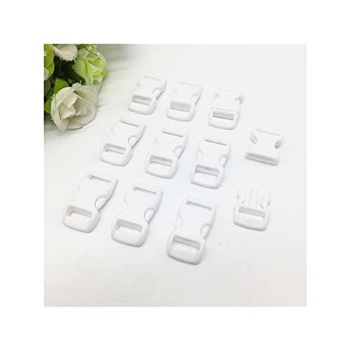 WEIGENG 10 cierres de hebilla de liberación lateral curvados coloridos de 3/8 pulgadas para pulseras, mochilas de ropa (color: blanco)