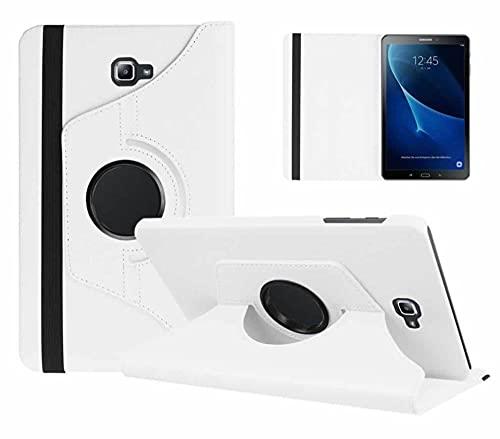 360 Funda Inteligente giratoria para Samsung Galaxy Tab A 10.1 2016 T580 T585 T580N T585N CUCK Funda PU CUERTURO DE CUERTURO DE CUERTURO DE CUERTURO DE CUERDO DE LA PU-Blanco