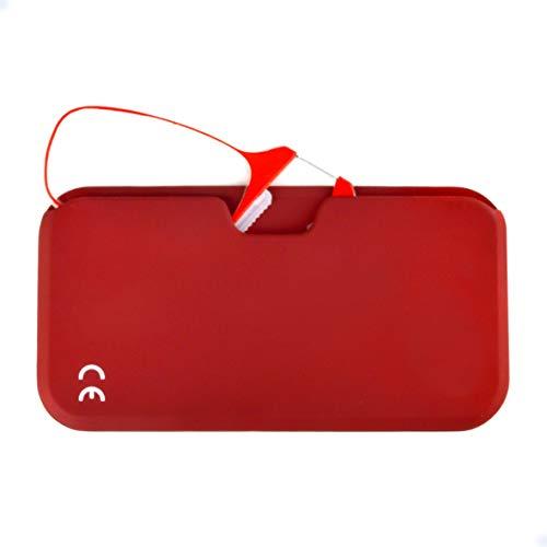 Newvision Gafas de lectura con funda, sin patillas, gafas de vista para hombre y mujer, unisex, ultra delgadas, sin patillas, con funda compacta portátil NV1171 (+1.00, rojo)