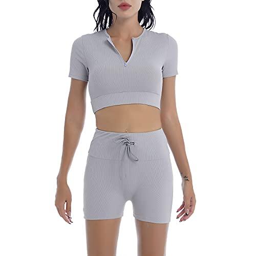 inhzoy Traje Deportivo de 2 Piezas de Verano para Mujer Conjunto para Gimnasia Correr Yoga Camiseta Recortada con Pantalones Cortos de Cintura Alta Gris M