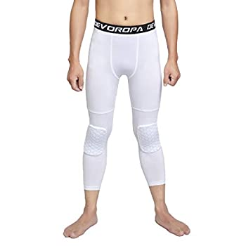 DEVOROPA Youth Boys Basketball Compression Pants with Knee Pads 3/4 Athletic Tights Quick Dry Sports Workout Leggings White M
