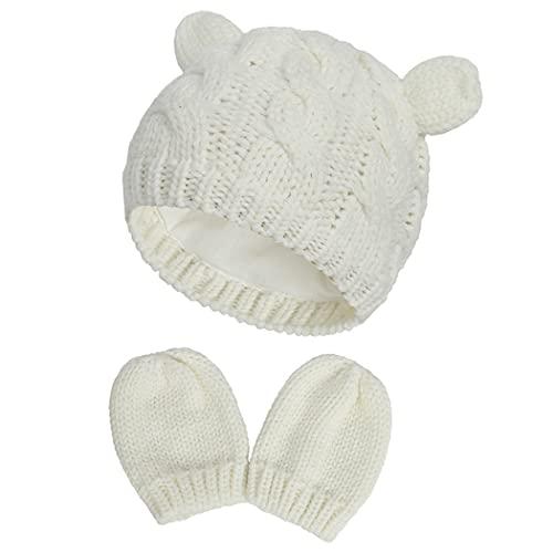 JUSTDOLIFE Baby Beanie Sombrero Lindo Oso Suave Orejas De Punto Higido Higido Adorable Sombrero con Mitones para Niños Recién Nacidos Niños Niñas De Lana Sintética