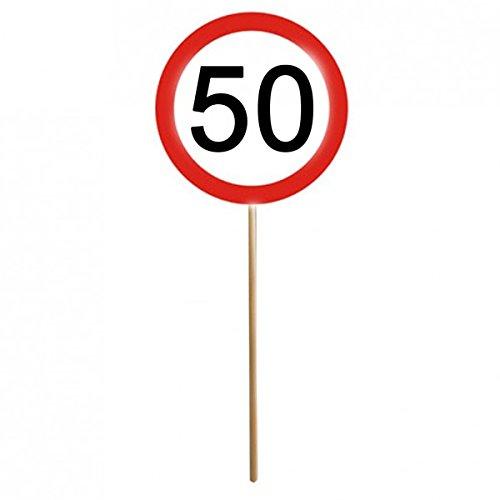 12er Set 50. Geburtstag Mini Schilder Verkehrsschilder mit Stab Deko