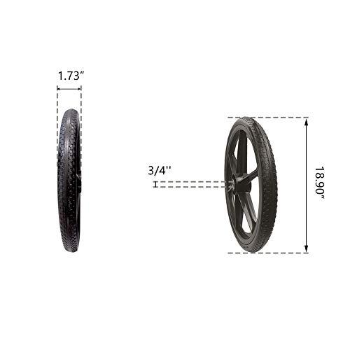 BAIVE BW 20x2 Inch Flat Free Cart Wheel, Replacement Tire for Wheelbarrow Cart, 2.44
