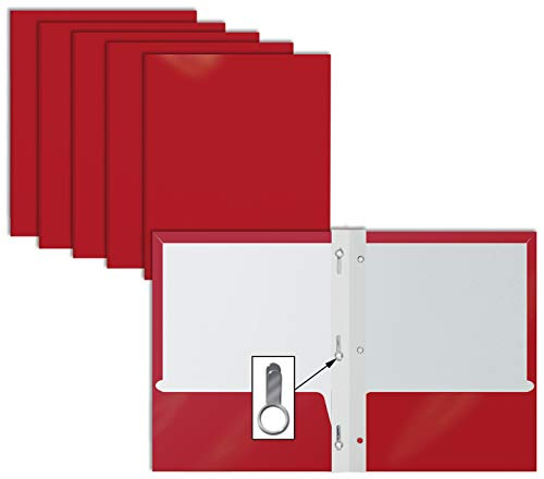 2 Pocket Glossy RED Paper Folders with Prongs, 25 Pack, by Better Office Products, Letter Size, High Gloss Red Paper Portfolios with 3 Metal Prong Fasteners, Box of 25 Glossy Red Folders