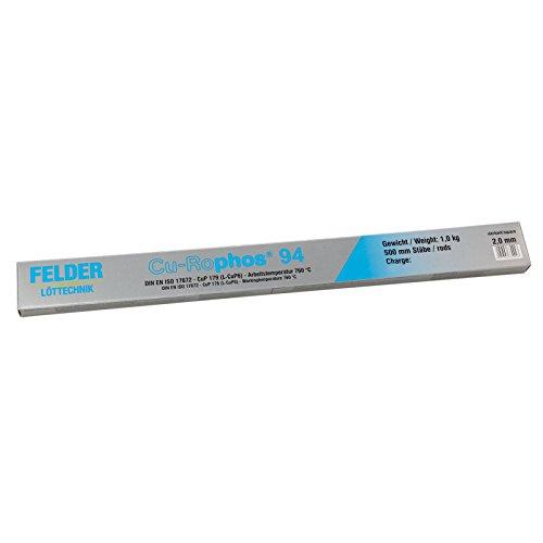 FELDER Cu-Rophos 94 Kupferhartlot CP203 CuP179 L-CuP6 500mm Stäbe VPE: 1kg, Größe:2.0 mm