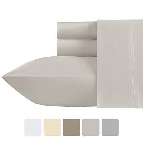 California Design Den Foam Gray Bed Sheets Queen-Size - 500 Thread Count 100% Real Cotton, Sateen Weave Breathable 4 Piece Sheet Set, Elasticized Deep Pocket Fits Low Profile Foam and Tall Mattresses