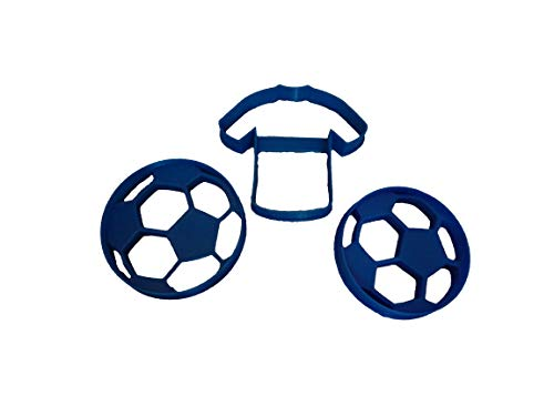 Soccer Balls in Two Sizes and Jersey Cookie Cutters (3 Pack)