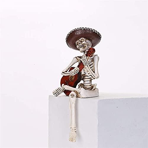 YANJ 4.5 Pulgadas Estatua de Resina Vintage Estantería Figuras Artesanías Decorativas Esqueleto Miniaturas Adornos de decoración del hogar (Color: Guitarrista)