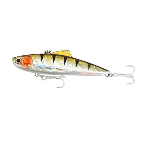 qkdop 1Pcs 8.5Cm / 21.8G Señuelos de Pesca de Hielo de Invierno Bionic Vibration Crankbait Bass Wobbler Treble Hooks