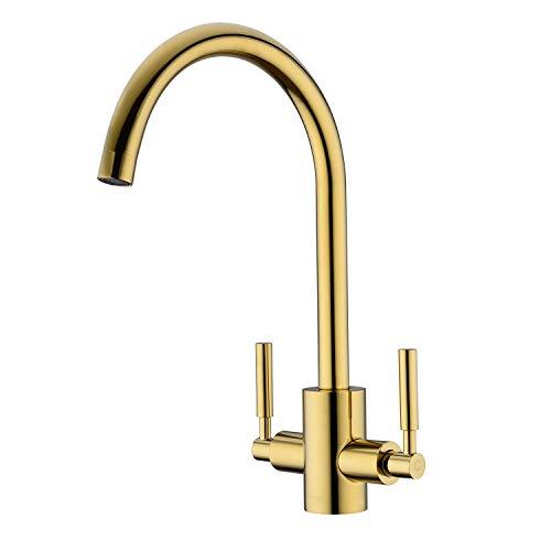Kitchen Tap, Gold Kitchen Mixer Taps WENKEN Double Handles Swivel Spout Solid Brass Monobloc Kitchen Sink Tap