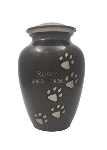 Beautiful Life Urns Pawsitive Reflection Custom Pet Urn Engravable Pet Urn, Slate/Pewter (Extra Small)