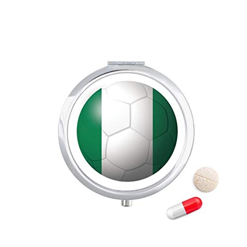 DIYthinker Nigeria Nationale Vlag Voetbal Reizen Pocket Pill Case Medicine Drug Opbergdoos Dispenser Spiegel Gift